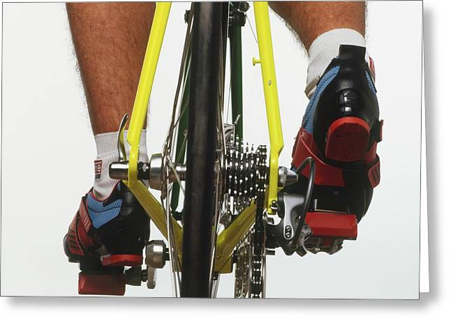 Cyclists Feet On Pedals Greeting Card by Dorling Kindersley/uig