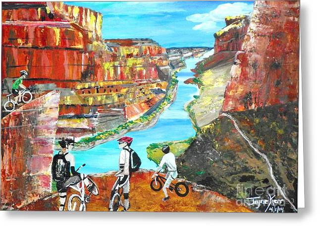 Cyclists In Grand Canyon Greeting Card