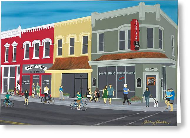 Cyclists On The Square Greeting Card by Clinton Cheatham
