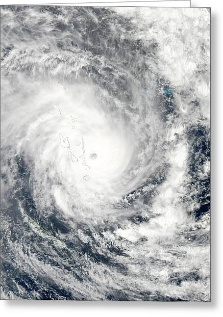 Cyclone Pam Over Vanuatu Greeting Card by Jeff Schmaltz, Lance/eosdis Modis Rapid Response Team At Nasa Gsfc