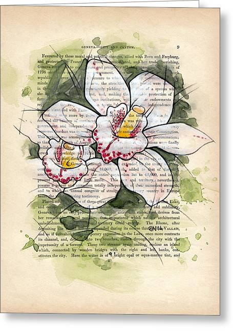 Cymbidium Flowers Greeting Card by Rudy Nagel