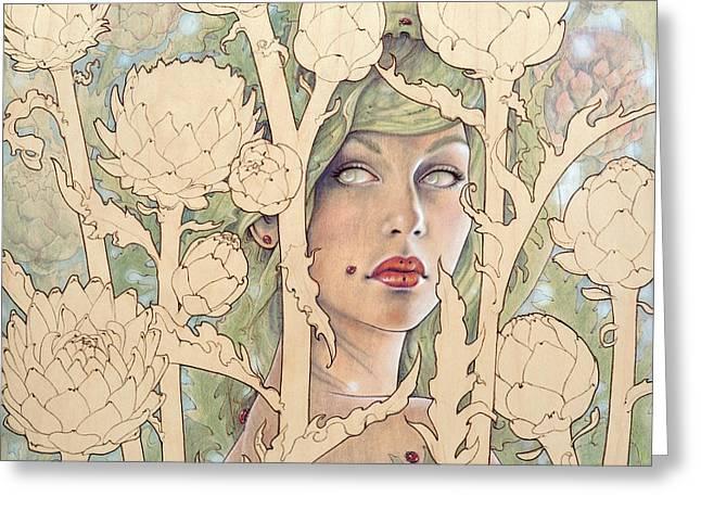 Cynara Greeting Card by Fay Helfer