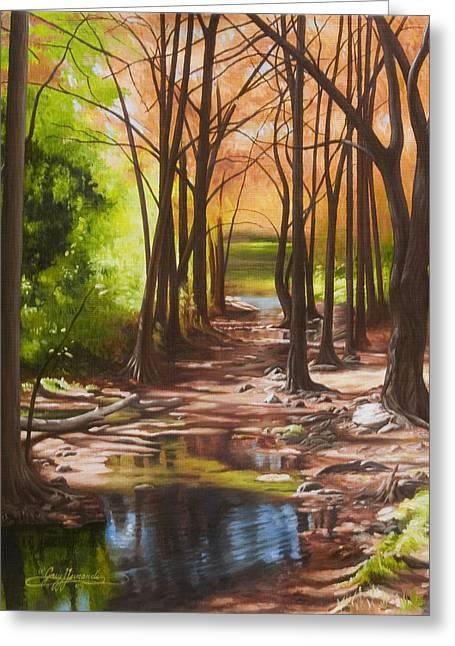 Cypress Creek In Autumn Greeting Card by Gary  Hernandez