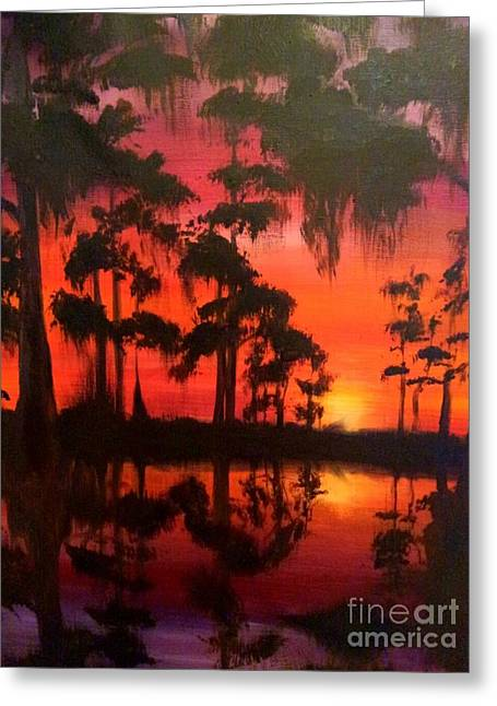 Cypress Swamp At Sunset Greeting Card
