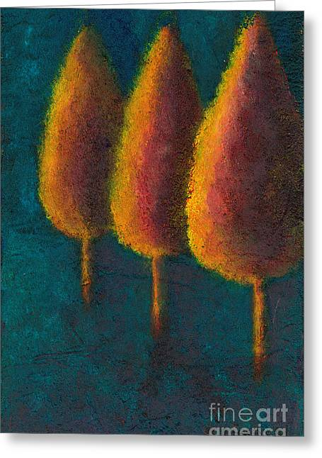 Greeting Card featuring the painting Cypress Trees by Sandy Linden