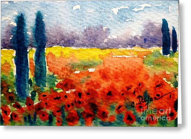 Cypresses And Poppies Greeting Card