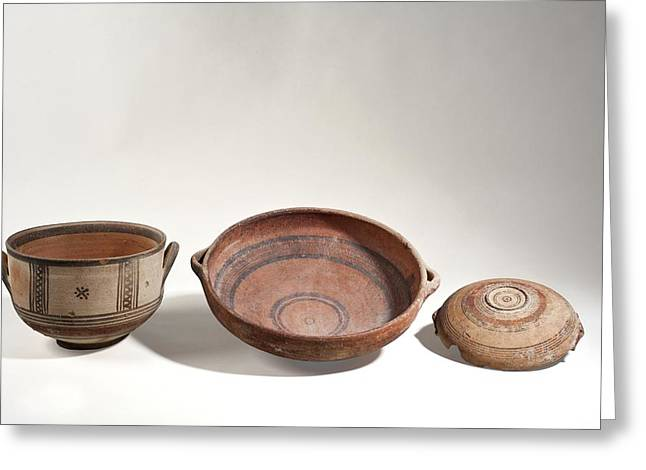 Cypriot Terracotta Bowls Greeting Card by Science Photo Library