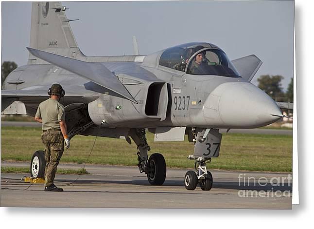 Czech Air Force Saab Jas-39 Gripen Greeting Card by Timm Ziegenthaler
