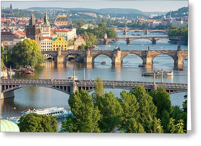 Czech Republic, Prague - Bridges Greeting Card by Panoramic Images