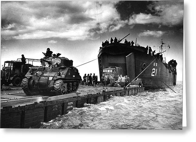 D-day Landings Harbour Greeting Card by Us National Archives