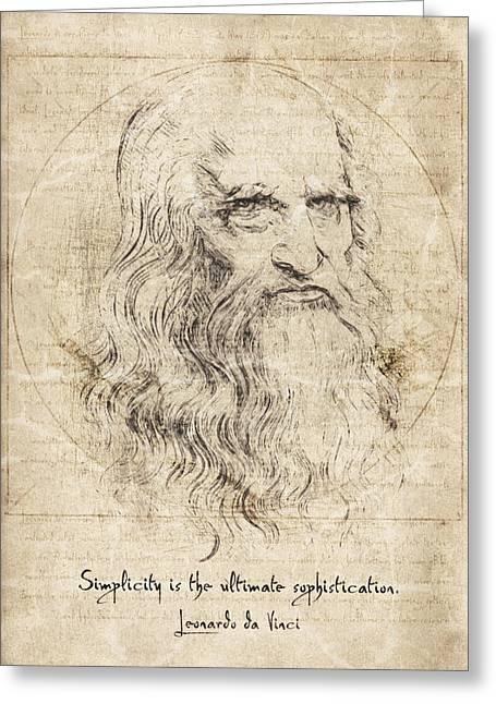 Da Vinci Quote Greeting Card by Taylan Apukovska