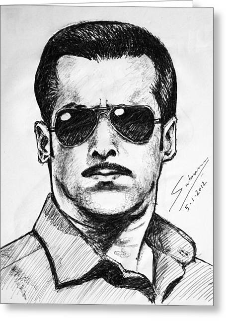 Salman Khan Greeting Card by Salman Ravish