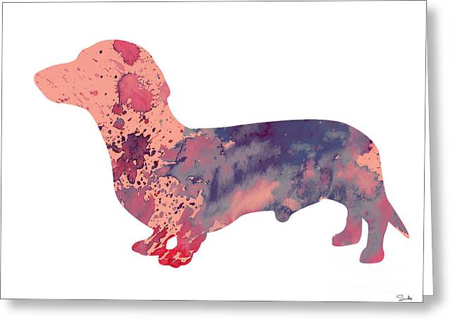 Dachshund 3 Greeting Card by Watercolor Girl