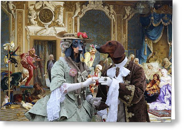 Dachshund Art - Royal Party Greeting Card by Sandra Sij