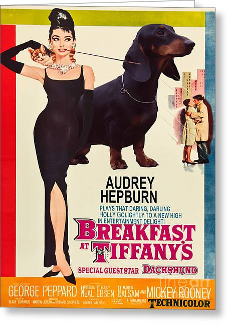 Dachshund Art Canvas Print - Breakfast At Tiffany Movie Poster Greeting Card by Sandra Sij