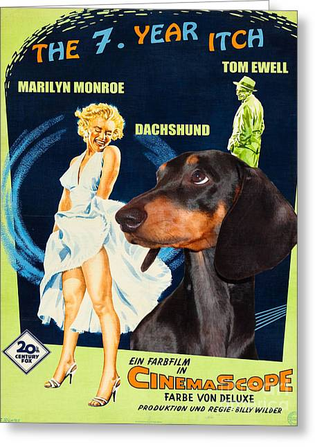 Dachshund Art Canvas Print - The Seven Year Itch Movie Poster Greeting Card by Sandra Sij