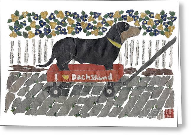 Dachshund Art Hand-torn Newspaper Collage Art Greeting Card by Keiko Suzuki