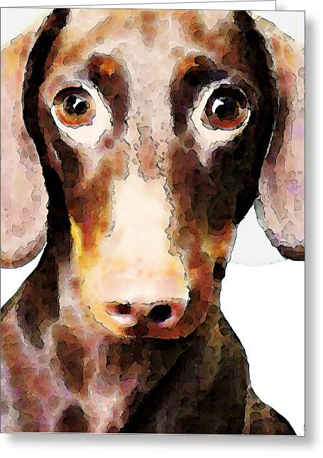 Dachshund Art - Roxie Doxie Greeting Card by Sharon Cummings