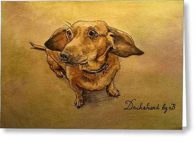Dachshund Greeting Card by Juan  Bosco