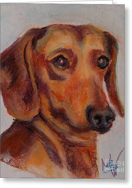 Dachshund Greeting Card by Mindy Sue Werth