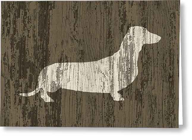 Dachshund On Wood Greeting Card by Flo Karp