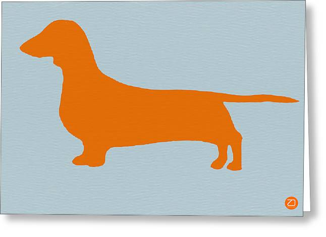 Dachshund Orange Greeting Card by Naxart Studio
