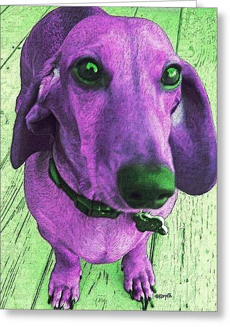 Dachshund - Purple People Greeter Greeting Card