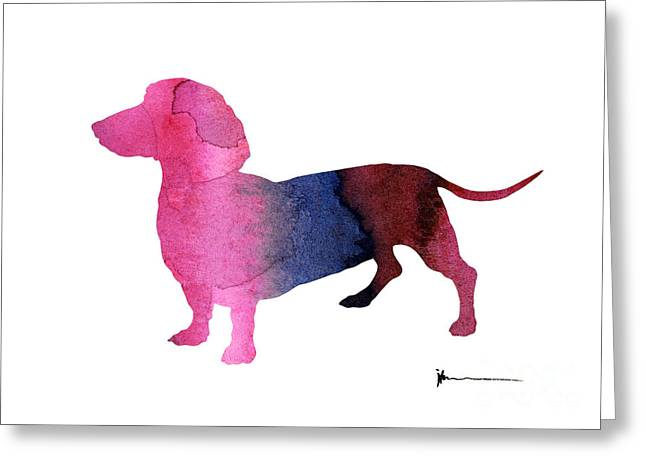 Dachshund Silhouettes Painting Watercolor Art Print  Greeting Card by Joanna Szmerdt