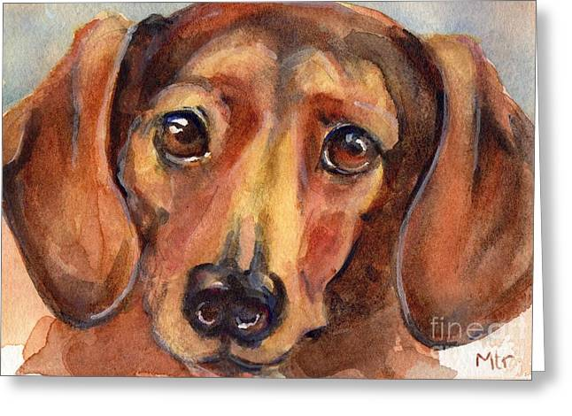 Dachshund Watercolor Greeting Card by Maria's Watercolor