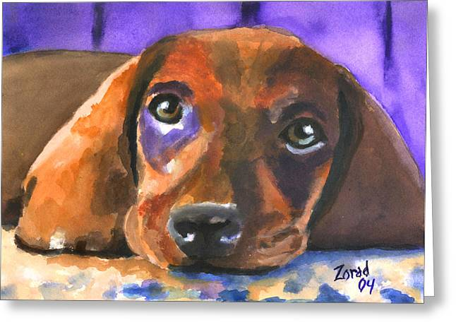 Dachshund Watercolor Greeting Card
