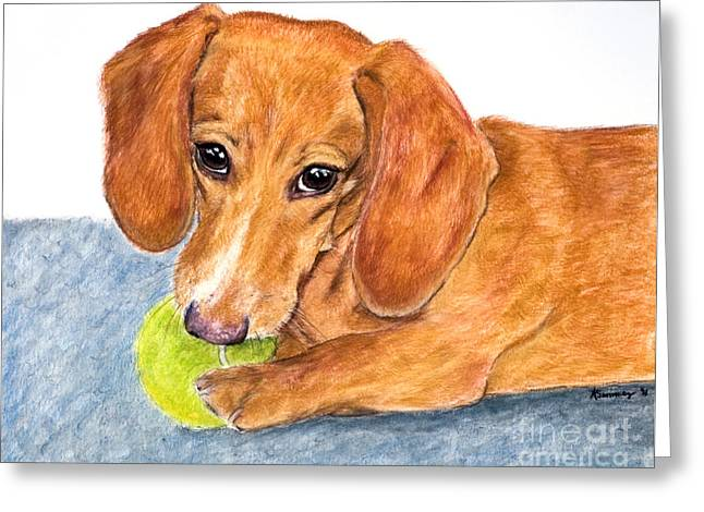 Dachshund With Tennis Ball Greeting Card