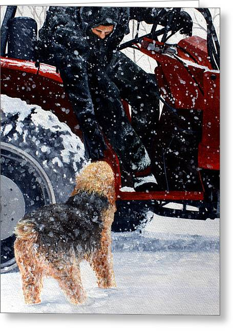 Dad And Cooper-best Of Show Greeting Card by Kimberly Shinn