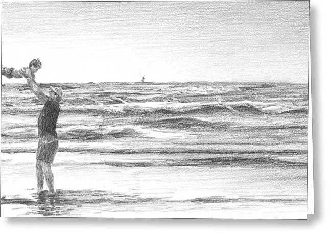 Dad And Son Beach Pencil Portrait Drawing by Mike Theuer