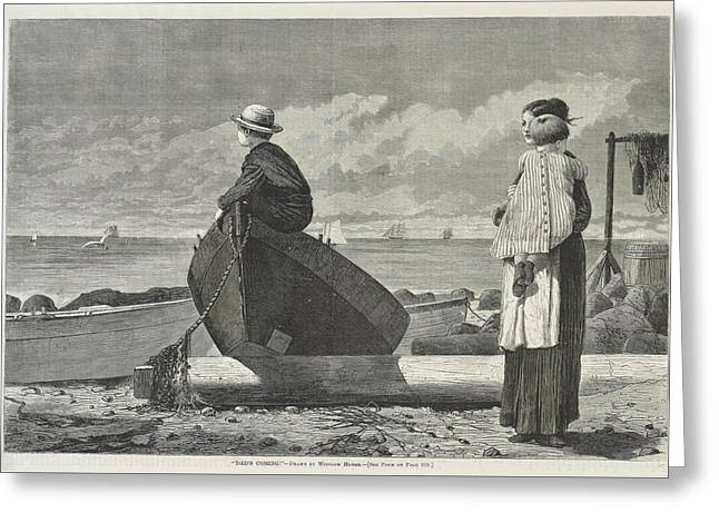 Dad S Coming Greeting Card by Winslow Homer