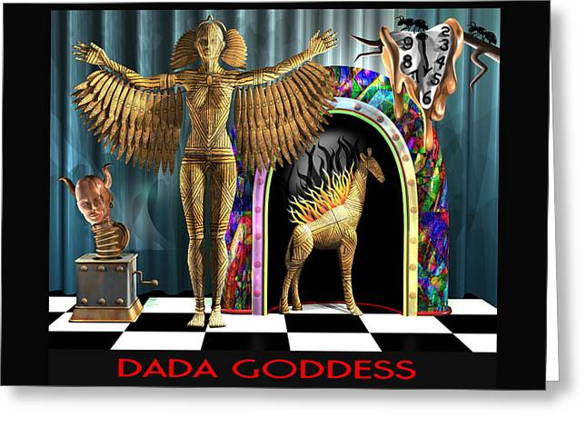Dada Goddess Greeting Card by Stuart Swartz