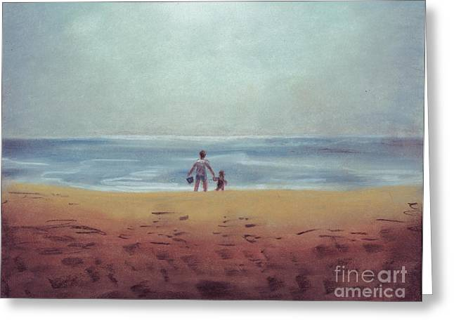 Daddy At The Beach Greeting Card by Samantha Geernaert