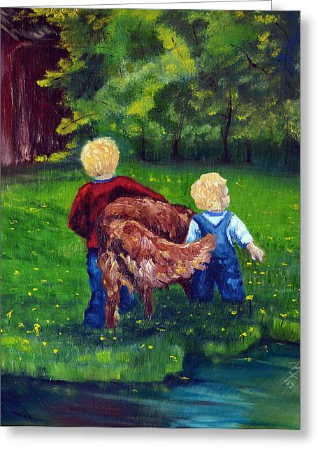 Daddy's Boys Greeting Card by Meaghan Troup