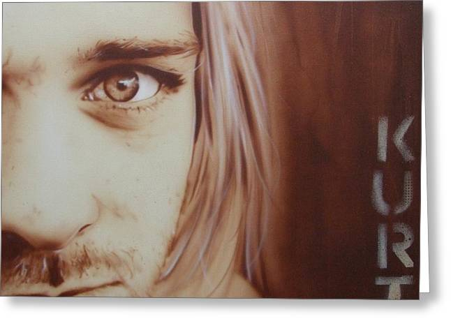 Kurt Cobain - ' Daddys Little Girl Aint A Girl No More ' Greeting Card by Christian Chapman Art
