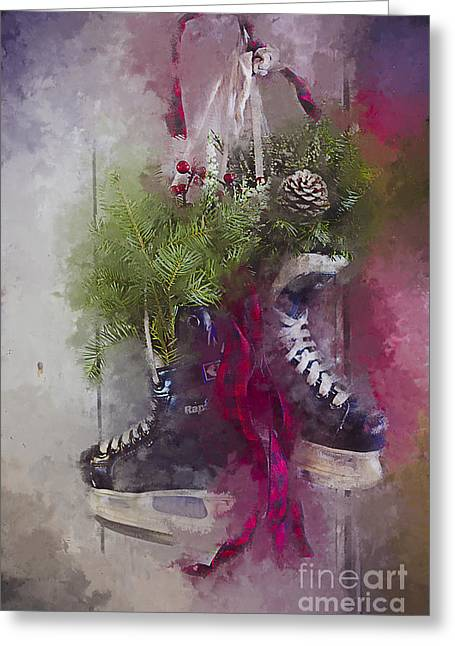 Dad's Christmas Skates Greeting Card
