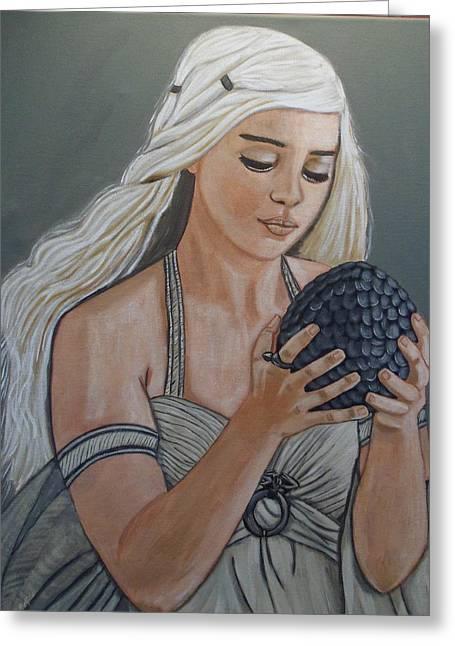 Daenerys Dragon Queen Greeting Card by Tammy Rekito