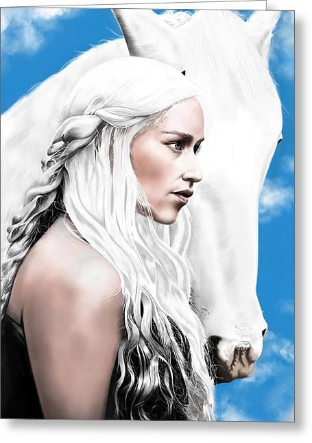 Daenerys Targaryen Greeting Card by Andrew Harrison