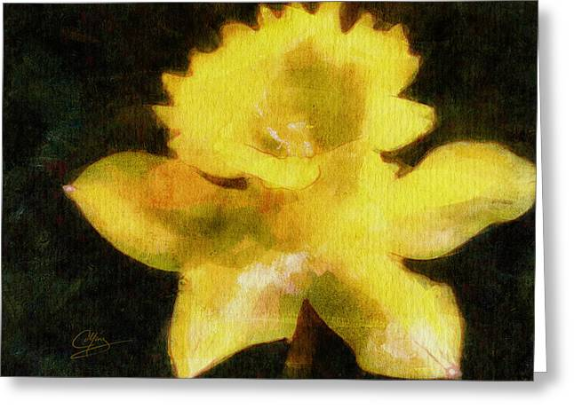 Greeting Card featuring the painting Daffodil by Greg Collins