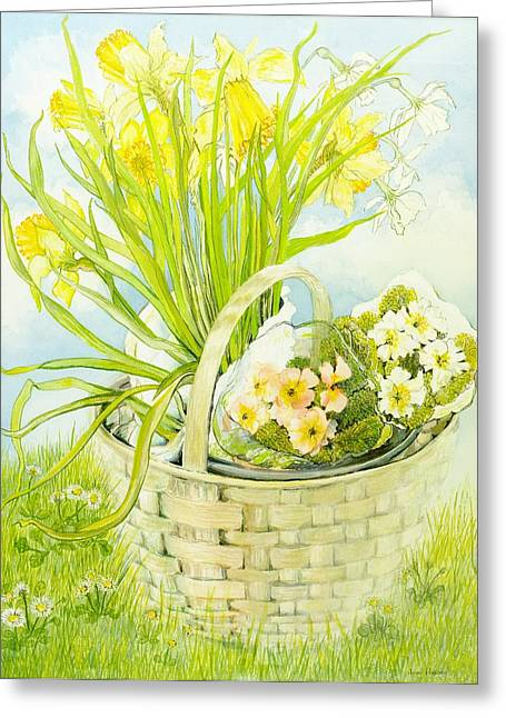 Daffodils And Primroses In A Basket Greeting Card by Joan Thewsey