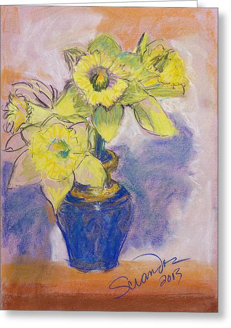 Daffodils In Blue Italian Vase Greeting Card