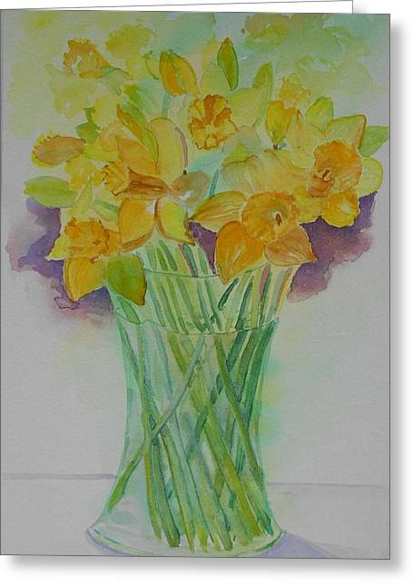 Daffodils In Glass Vase - Watercolor - Still Life Greeting Card