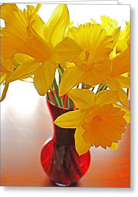 Greeting Card featuring the photograph Daffodils In Red Vase by Diane Alexander
