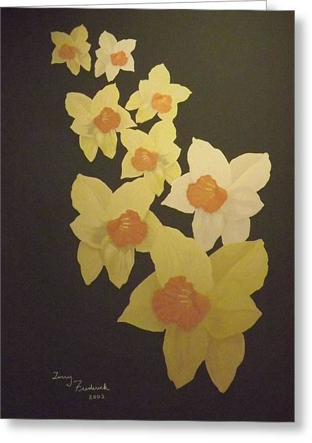 Greeting Card featuring the digital art Daffodils by Terry Frederick