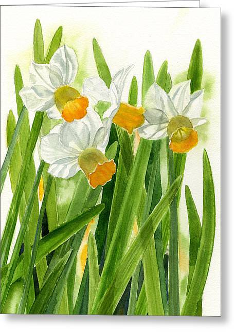 Daffodils With Green Leaves Greeting Card by Sharon Freeman