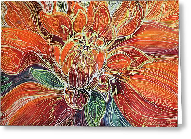 Dahlia Floral Abstract  Greeting Card by Marcia Baldwin