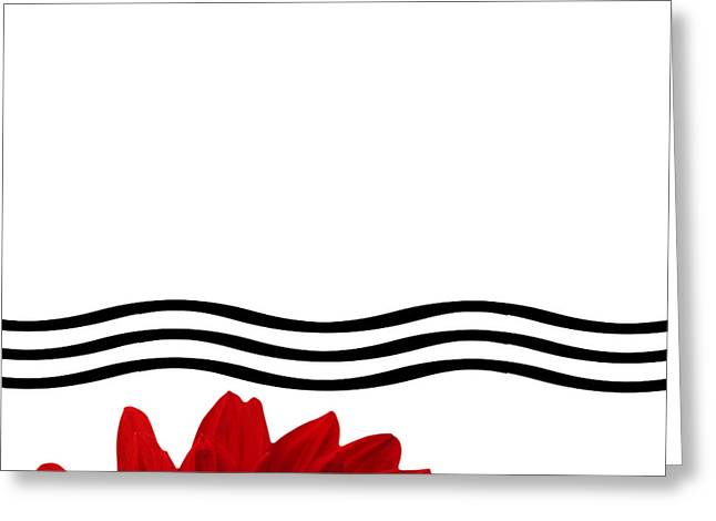 Dahlia Flower And Wavy Lines Triptych Canvas 1 - Red Greeting Card by Natalie Kinnear